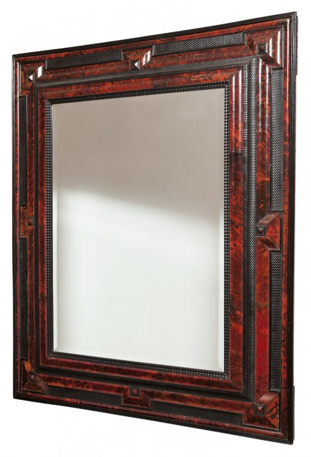 Flemish Baroque Style Tortoiseshell and Ebonized Wood Mirror