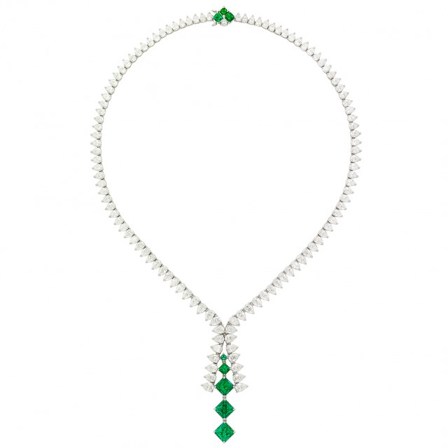Platinum, Emerald and Diamond Necklace