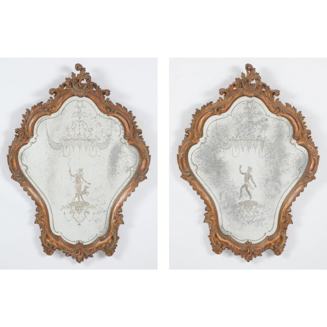Pair of Venetian Rococo Style Polychrome Painted and Etched Glass Mirrors