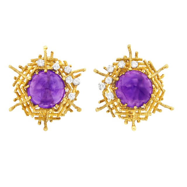Pair of Gold, Platinum, Cabochon Amethyst and Diamond Earclips, Attributed to George Weil