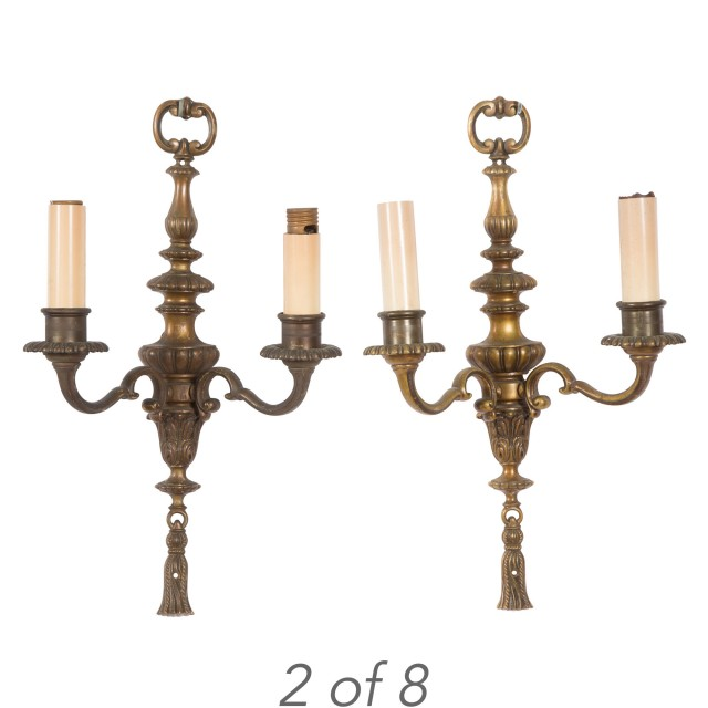 Set Of Eight Neoclassical Style Bronze Two Light Wall Sconces Doyle Auction House
