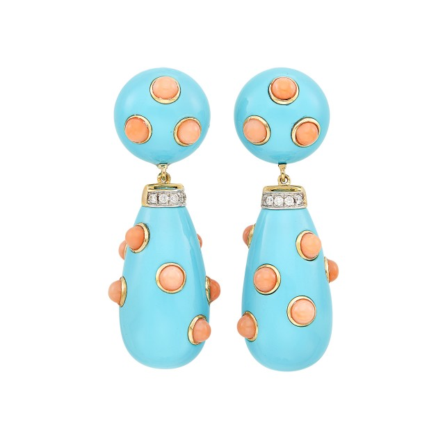 Pair of Gold, Turquoise, Coral and Diamond Pendant-Earclips