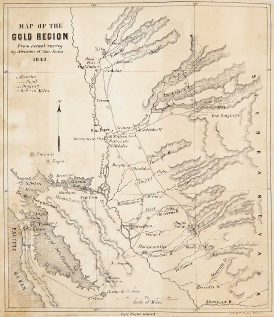 [GOLD RUSH-MAP]  JOHNSON, THEODORE T. Sights in the Gold Region and Scenes by the Way.