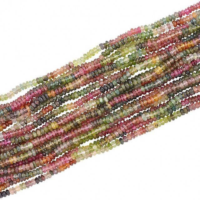 Multistrand Multicolored Tourmaline Bead and Gold Bracelet, Verdura