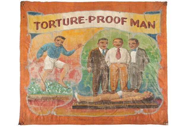 'Torture-Proof Man' Sideshow Banner, Attributed to Nieman Eisman