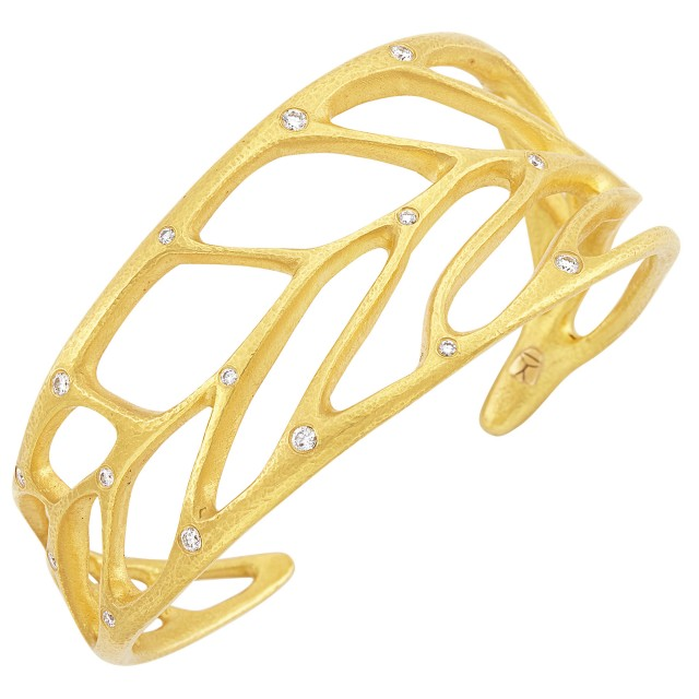 High Karat Gold and Diamond Leaf Cuff Bracelet, Linda Lee Johnson