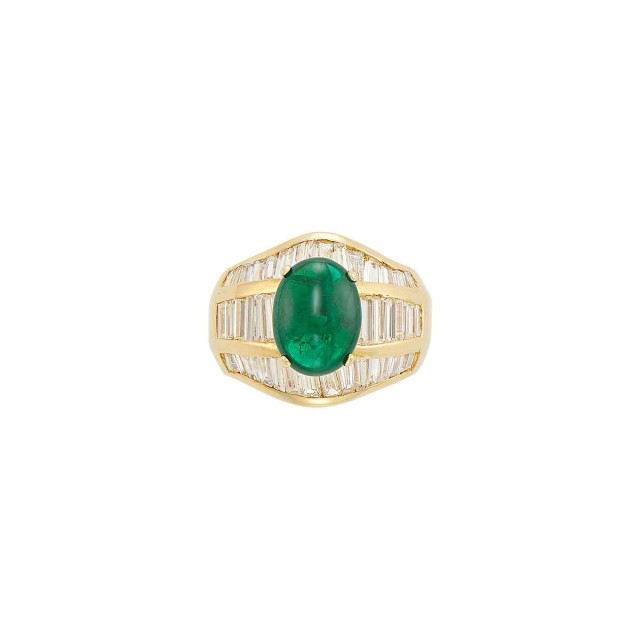 Wide Gold, Cabochon Emerald and Diamond Ring