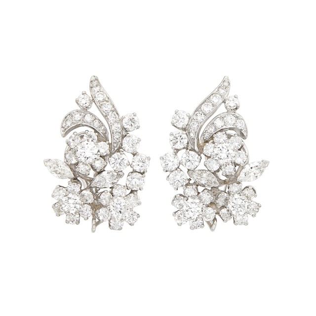 Pair of Platinum and Diamond Flower Earclips