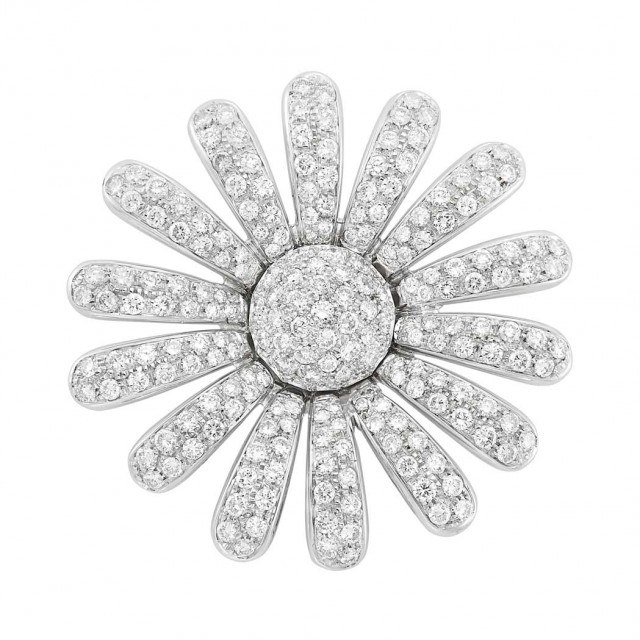 White Gold and Diamond Flower Clip-Brooch, Giovane