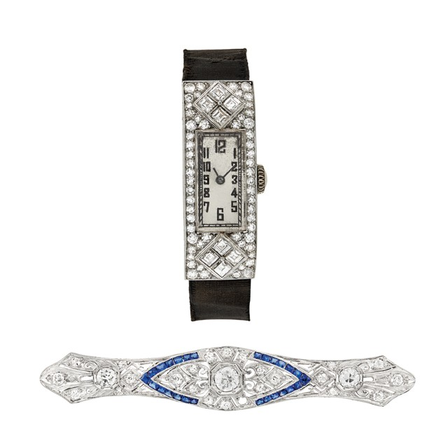 Platinum, Diamond and Sapphire Bar Pin and Art Deco Platinum and Diamond Wristwatch