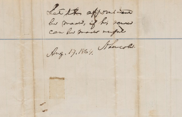 [LINCOLN, ABRAHAM]  Petition, dated July 26th, 1864.