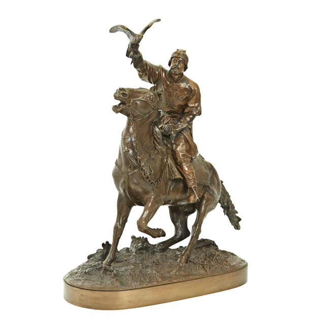 Russian Bronze Group of the Tsar's Falconer under Ivan the Terrible