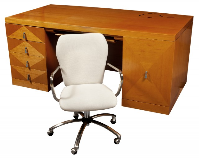 Dottie's Fruitwood Double Pedestal Desk and Office Chair