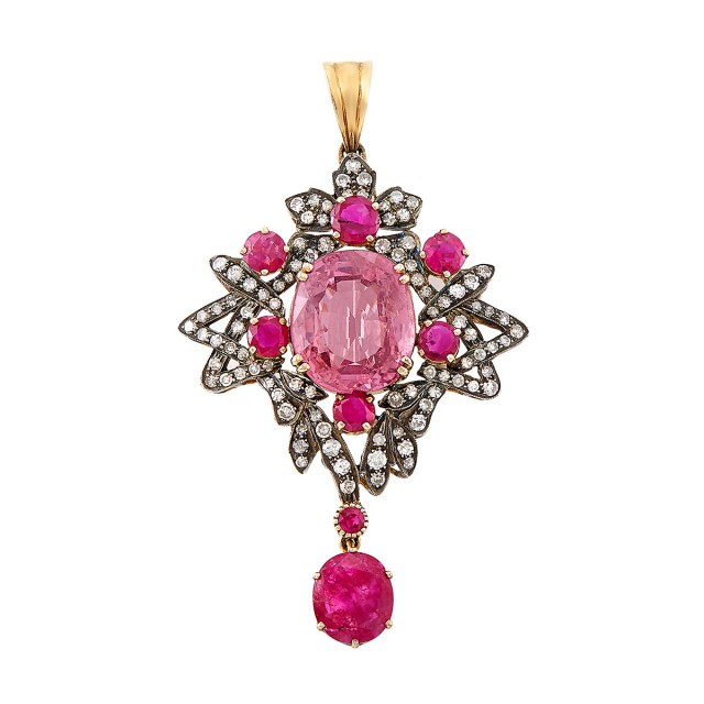 Silver, Gold, Pink Spinel, Ruby and Diamond Pendant