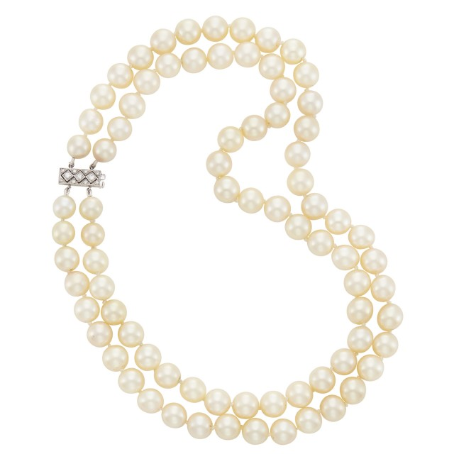 Double Strand Cultured Pearl Necklace with Platinum and Diamond Clasp, Van Cleef & Arpels