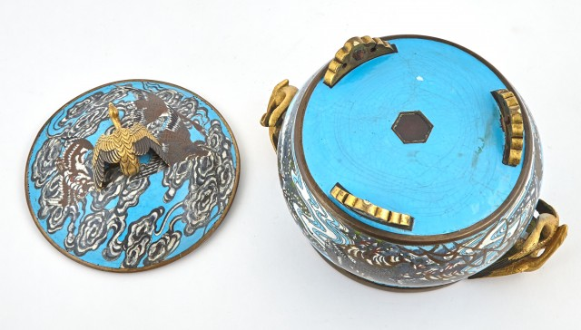 A Japanese Cloisonne Enamel and Gilt Metal Covered Tripod Koro