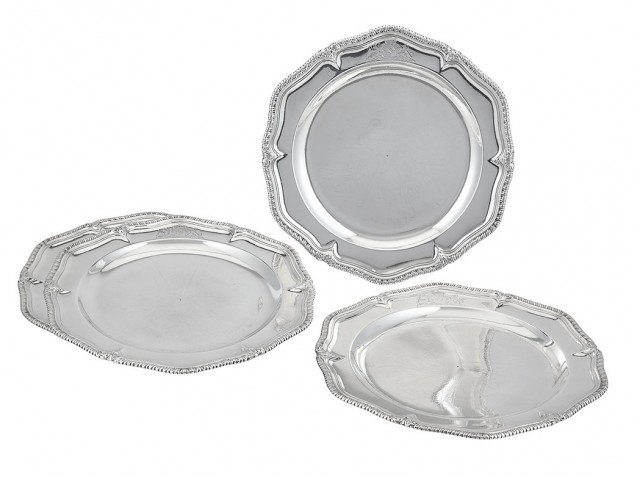 Set of Four George II Sterling Silver Second Course Dishes From The Thanet Service