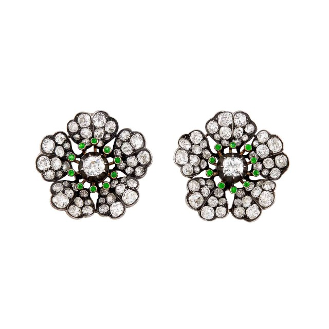 Pair of Antique Silver, Gold, Diamond and Demantoid Garnet Flower Earclips