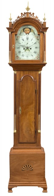 Federal Inlaid Mahogany and Brass Mounted Tall Case Clock