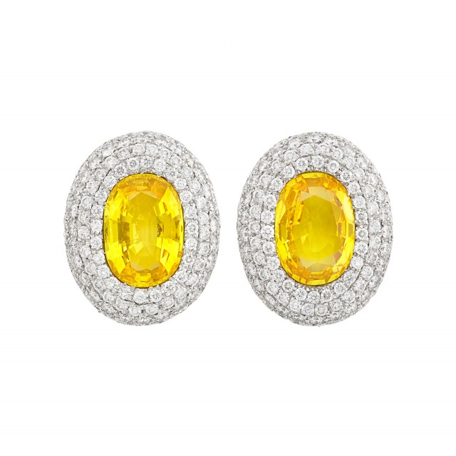 Pair of White Gold, Yellow Sapphire and Diamond Earclips, Michele della Valle
