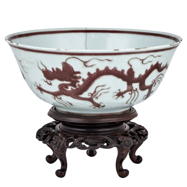 Chinese Red and White Glazed Porcelain Bowl