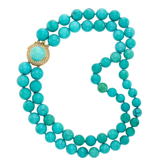 Double Strand Turquoise Bead Necklace with Gold-Plated White Gold, Turquoise and Diamond Clasp