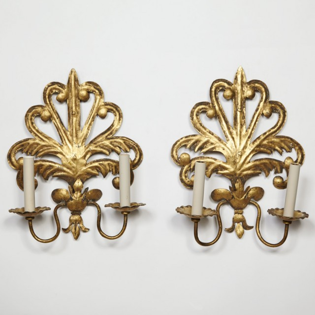 Pair Of Gilt Metal Two Light Wall Lights For Sale At Auction On Wed 05 18 2016 07 00 English Continental Furniture Decorative Arts Old Master Paintings Doyle Auction House
