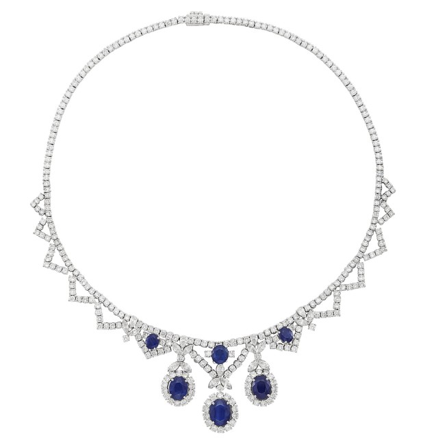 White Gold, Sapphire and Diamond Necklace