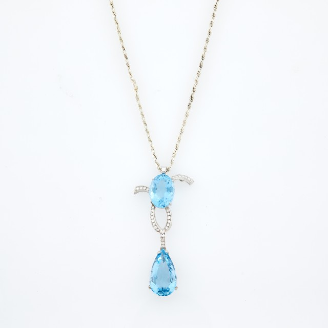 White Gold, Aquamarine and Diamond Pendant with Sterling Silver Chain