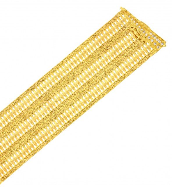 Wide Gold and Diamond Mesh Bracelet