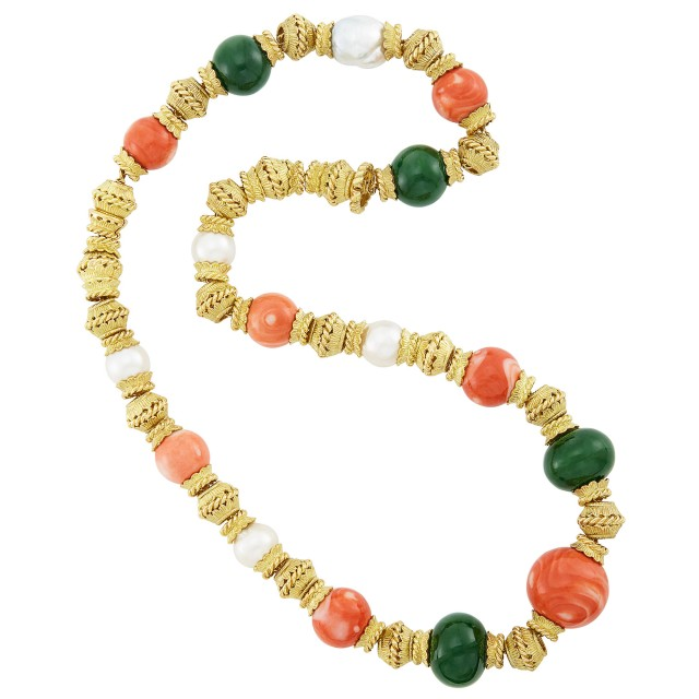 Gold, Coral and Nephrite Bead and South Sea Cultured Pearl Necklace/Bracelet Combination, David Webb