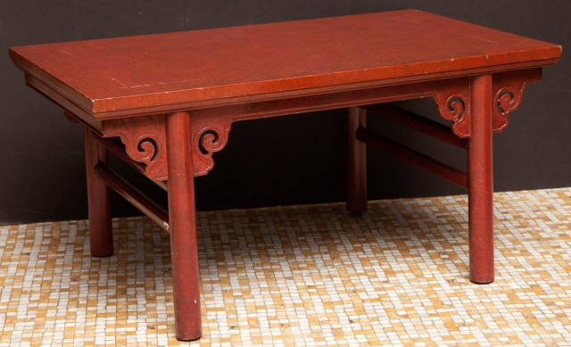 Chinese Style Faux Finish Lacquered Low Table