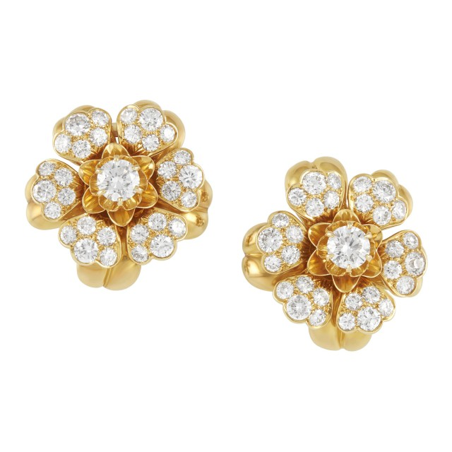 Pair of Gold and Diamond Clip-Brooch/Earclips, Van Cleef and Arpels