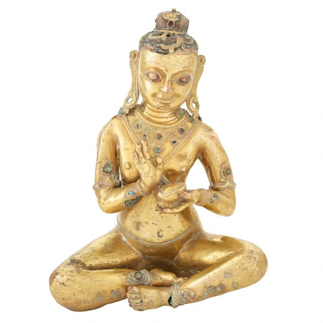 Tibetan Gilt-Bronze Figure of an Immortal