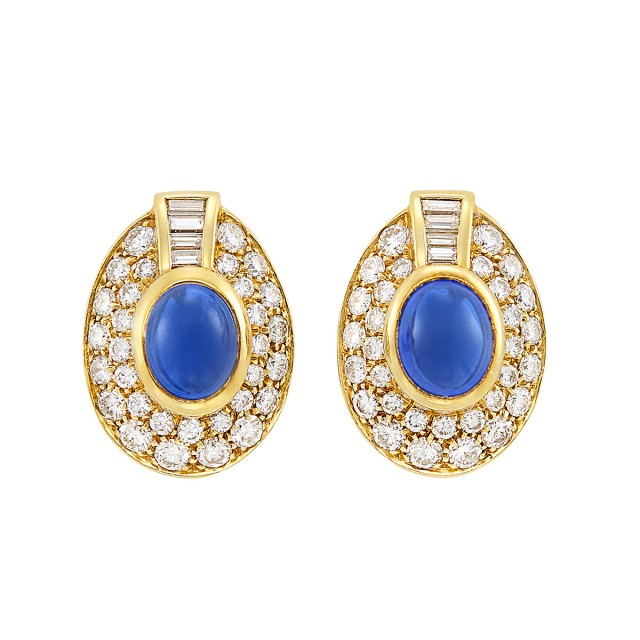 Pair of Gold, Cabochon Sapphire and Diamond Earclips