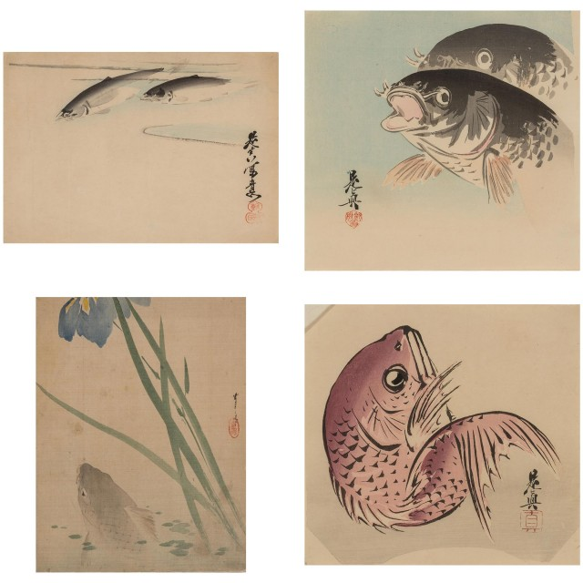 Group of Four Japanese Paintings of Fish