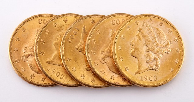 United States 1903-S Liberty Head Double Eagle Group of Five