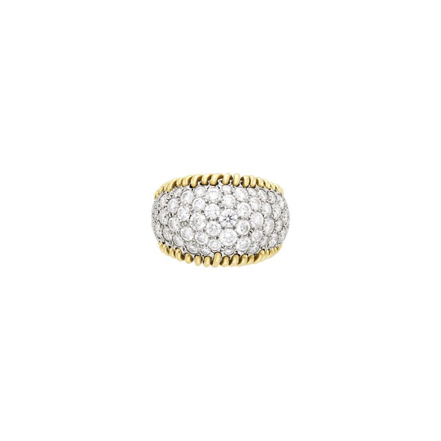 Tiffany and Co., Schlumberger Gold, Platinum and Diamond 'Stitches' Ring