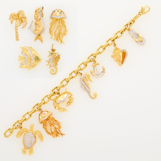 Gold, Diamond and Gem-Set Charm Bracelet and Five Loose Charms