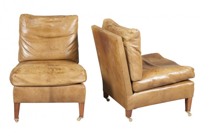 Pair of Brown Goatskin Leather Upholstered Slipper Chairs