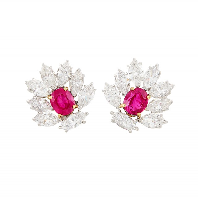 Pair of Platinum, Gold, Ruby and Diamond Earrings