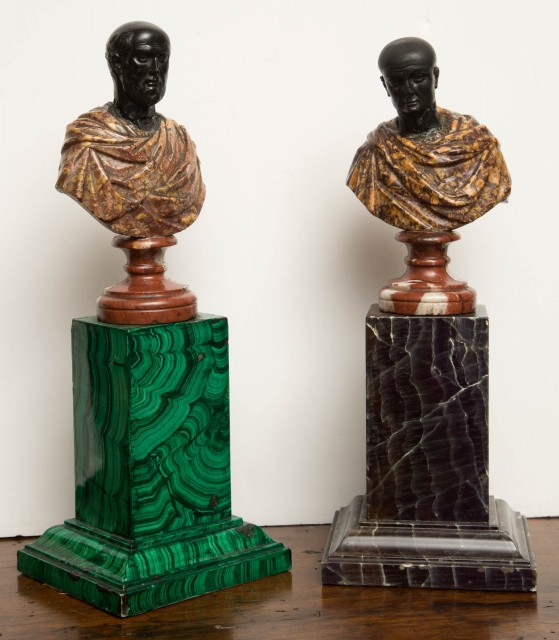 Two Similar Marble Busts of Roman Emperors