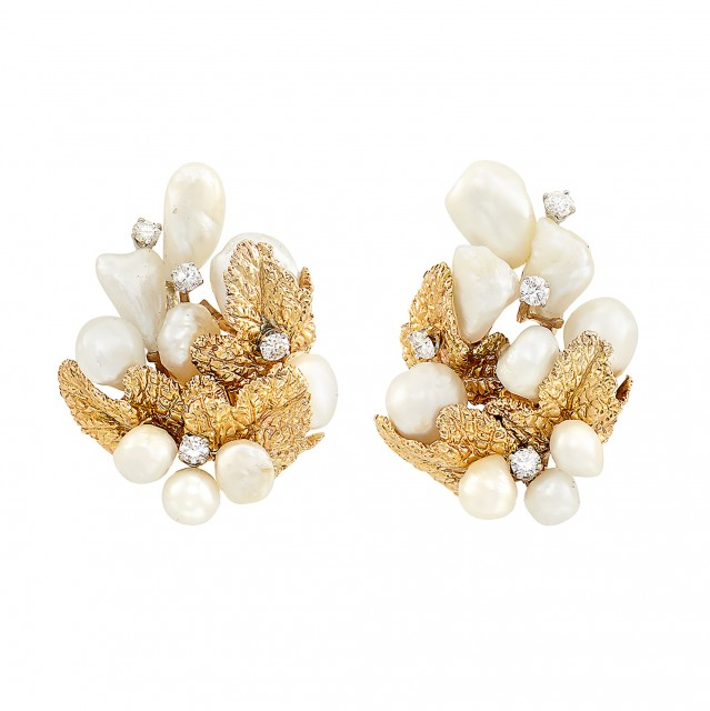 Pair of Gold, Platinum, Freshwater Pearl and Diamond Earrings, Ruser