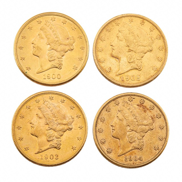 United States Liberty Head Double Eagle Group of Four