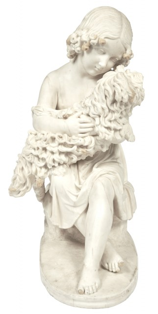 Marble Group of a Seated Young Girl Embracing a Maltese Dog