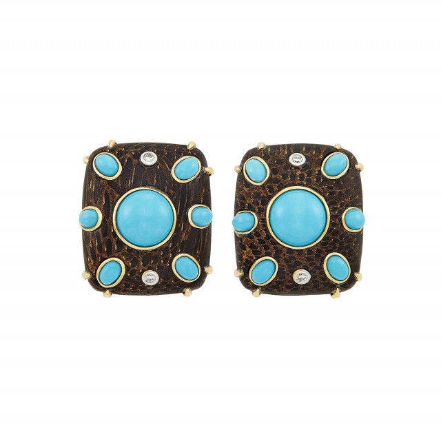 Pair of Gold, Wood, Turquoise and Diamond Earclips