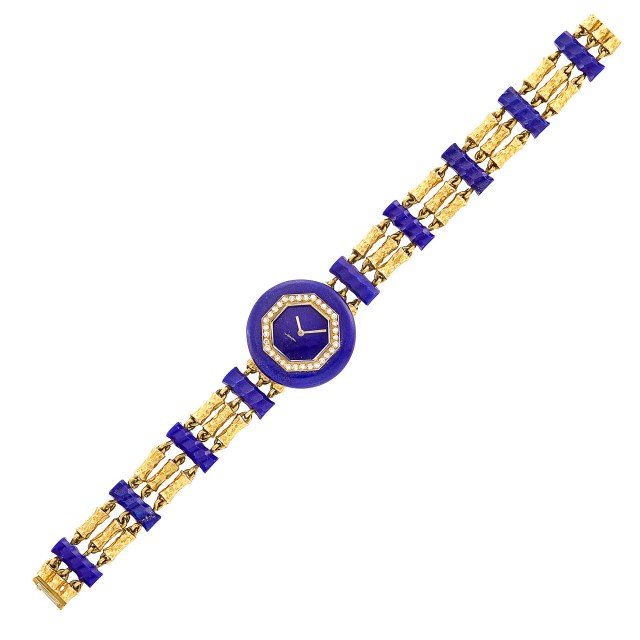 Triple Strand Hammered Gold, Lapis and Diamond Bracelet-Watch, Boucheron, Paris