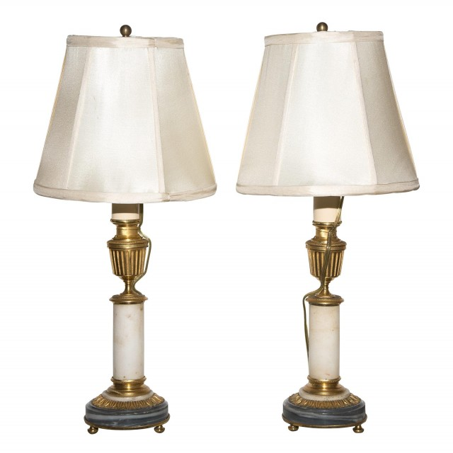 Pair of Louis XVI Style Gilt Bronze and Marble Candlestick Lamps