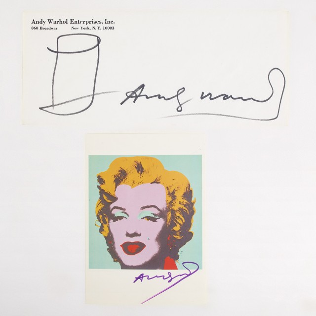 WARHOL, ANDY  Two signed items.