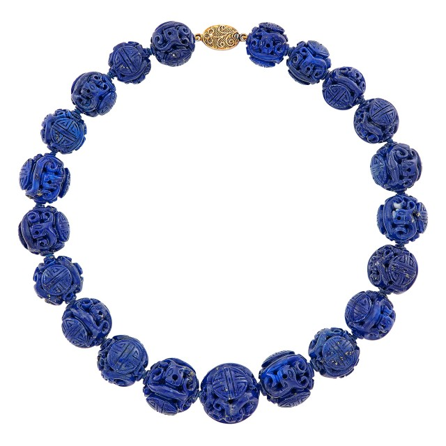 Carved Lapis Bead Necklace with Silver-Gilt Clasp